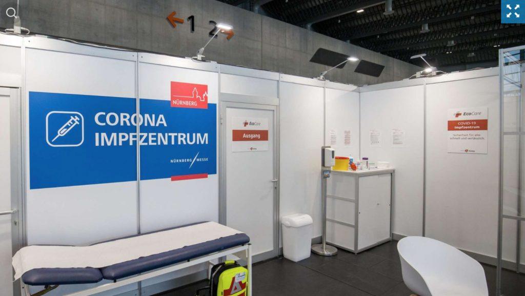Một cabin tại trung tâm tiêm chủng vắc xin Corona ở Nurnberg